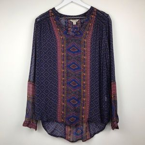 Lucky Brand Long Sleeve Navy Geometric Blouse